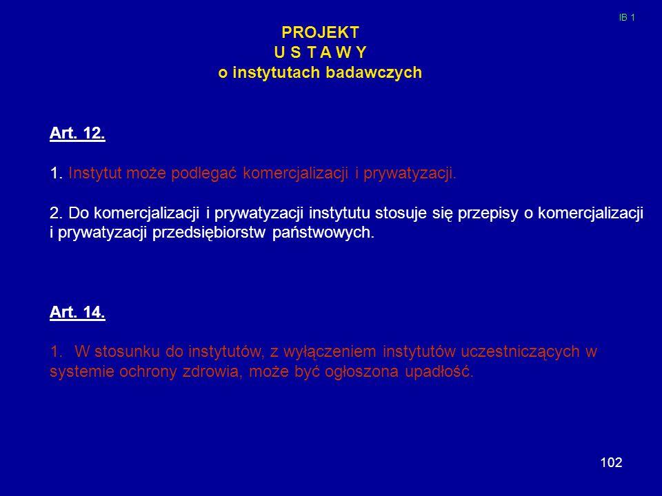 102 PROJEKT U S T A W Y o instytutach badawczych Art. 12. 1. Instytut może podlegać komercjalizacji i prywatyzacji. 2. Do komercjalizacji i prywatyzac