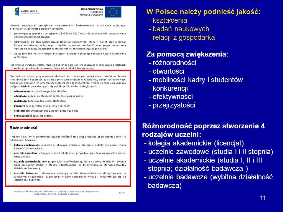 11 W Polsce należy podnieść jakość: - kształcenia - badań naukowych - relacji z gospodarką Za pomocą zwiększenia: - różnorodności - otwartości - mobil