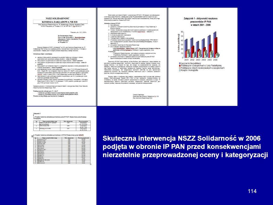 114 Skuteczna interwencja NSZZ Solidarność w 2006 podjęta w obronie IP PAN przed konsekwencjami nierzetelnie przeprowadzonej oceny i kategoryzacji
