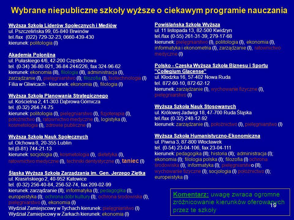19 Wyższa Szkoła Liderów Społecznych i Mediów ul. Pszczelińska 99, 05-840 Brwinów tel./fax (022) 729-32-23; 0660-439-430 kierunek: politologia (I) Aka