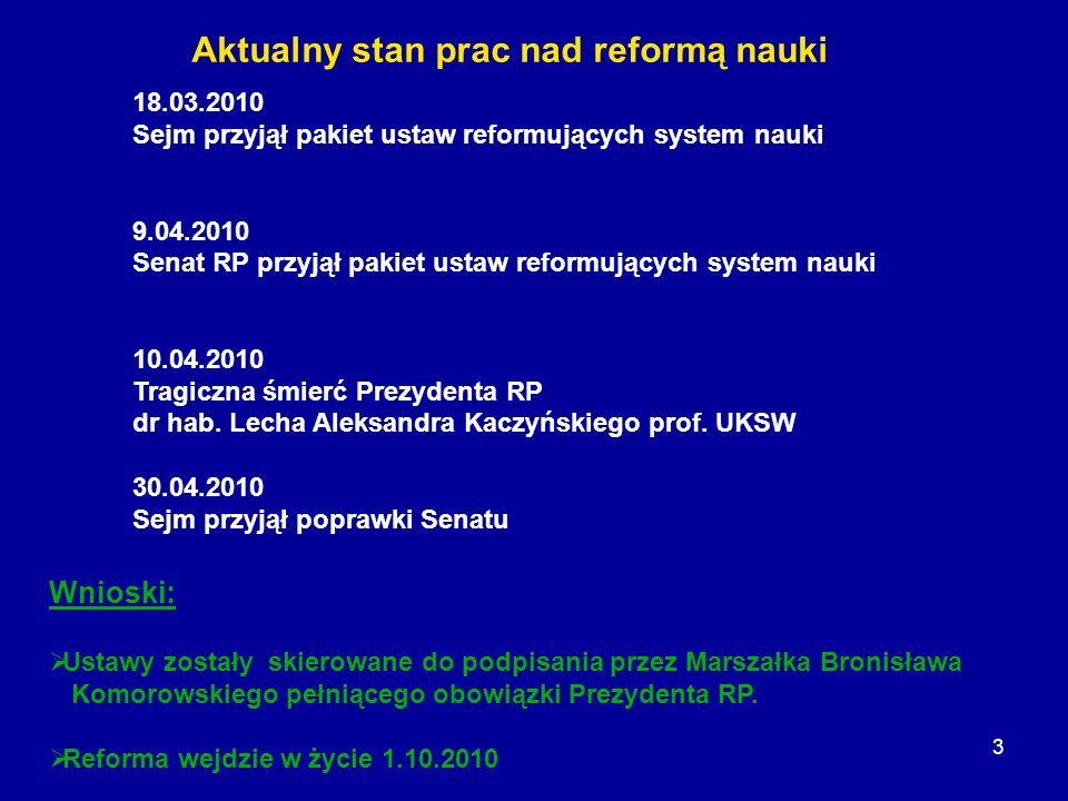 3 18.03.2010 Sejm przyjął pakiet ustaw reformujących system nauki 9.04.2010 Senat RP przyjął pakiet ustaw reformujących system nauki 10.04.2010 Tragic