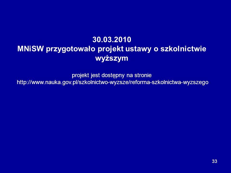 33 30.03.2010 MNiSW przygotowało projekt ustawy o szkolnictwie wyższym projekt jest dostępny na stronie http://www.nauka.gov.pl/szkolnictwo-wyzsze/ref