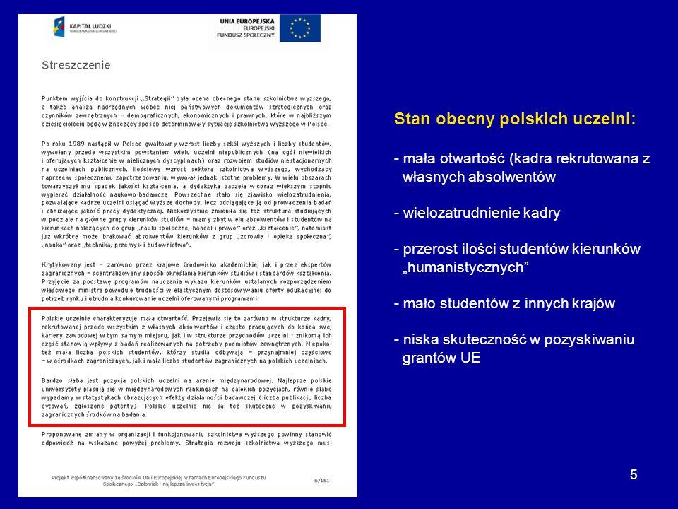 5 Stan obecny polskich uczelni: - mała otwartość (kadra rekrutowana z własnych absolwentów - wielozatrudnienie kadry - przerost ilości studentów kieru