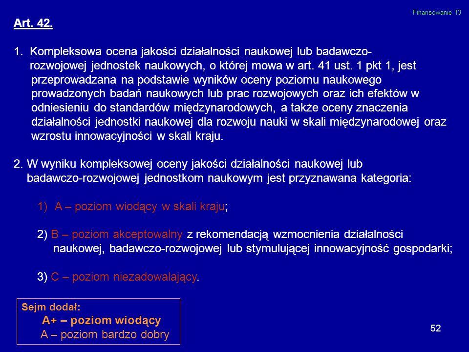 52 Art. 42. 1. Kompleksowa ocena jakości działalności naukowej lub badawczo- rozwojowej jednostek naukowych, o której mowa w art. 41 ust. 1 pkt 1, jes