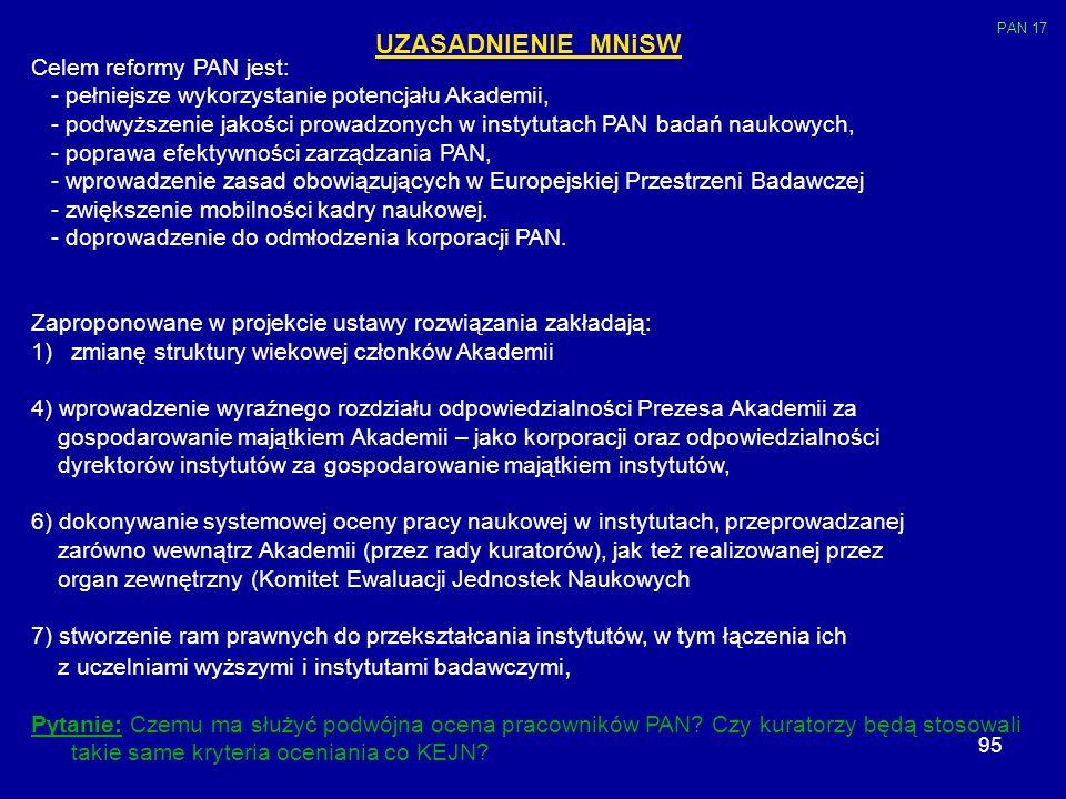 95 UZASADNIENIE MNiSW Celem reformy PAN jest: - pełniejsze wykorzystanie potencjału Akademii, - podwyższenie jakości prowadzonych w instytutach PAN ba