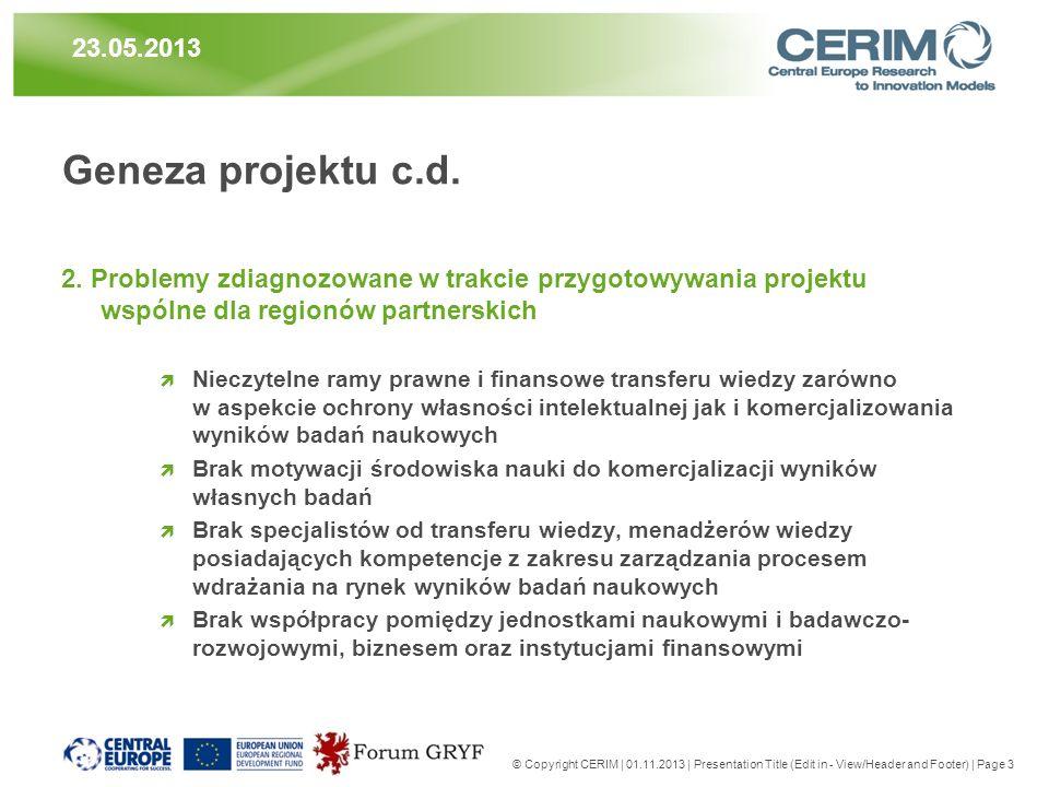 Geneza projektu c.d. 2. Problemy zdiagnozowane w trakcie przygotowywania projektu wspólne dla regionów partnerskich Nieczytelne ramy prawne i finansow