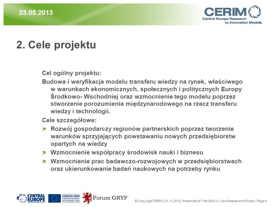 2. Cele projektu Cel ogólny projektu: Budowa i weryfikacja modelu transferu wiedzy na rynek, właściwego w warunkach ekonomicznych, społecznych i polit