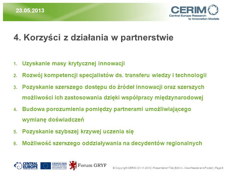 4. Korzyści z działania w partnerstwie 1. Uzyskanie masy krytycznej innowacji 2. Rozwój kompetencji specjalistów ds. transferu wiedzy i technologii 3.