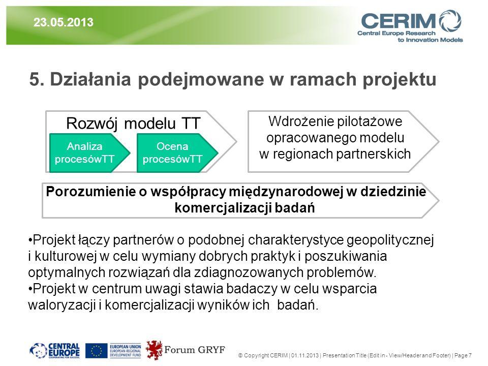 5. Działania podejmowane w ramach projektu © Copyright CERIM | 01.11.2013 | Presentation Title (Edit in - View/Header and Footer) | Page 7 23.05.2013