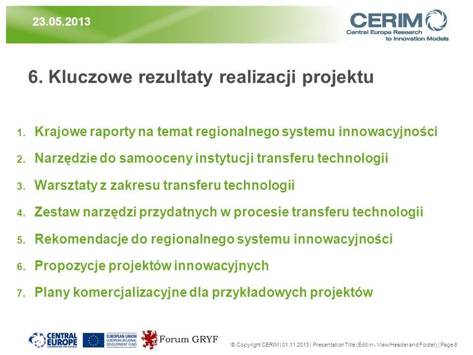 6. Kluczowe rezultaty realizacji projektu 1. Krajowe raporty na temat regionalnego systemu innowacyjności 2. Narzędzie do samooceny instytucji transfe
