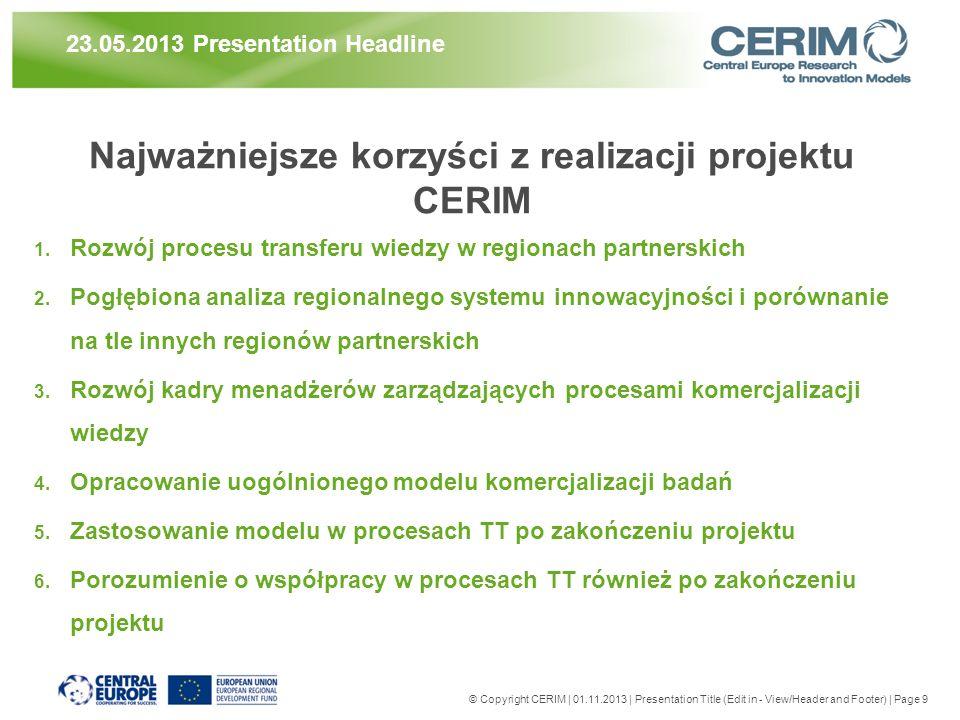 Najważniejsze korzyści z realizacji projektu CERIM 1. Rozwój procesu transferu wiedzy w regionach partnerskich 2. Pogłębiona analiza regionalnego syst