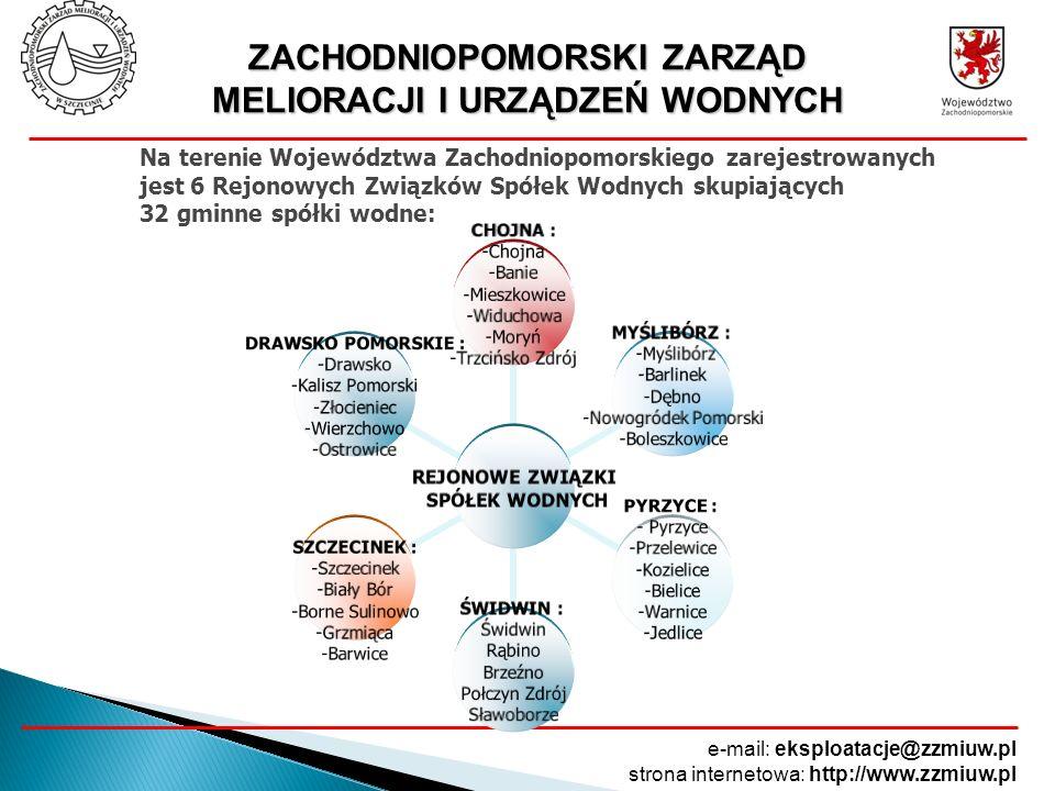 ZACHODNIOPOMORSKI ZARZĄD MELIORACJI I URZĄDZEŃ WODNYCH e-mail: eksploatacje@zzmiuw.pl strona internetowa: http://www.zzmiuw.pl REJONOWE ZWIĄZKI SPÓŁEK