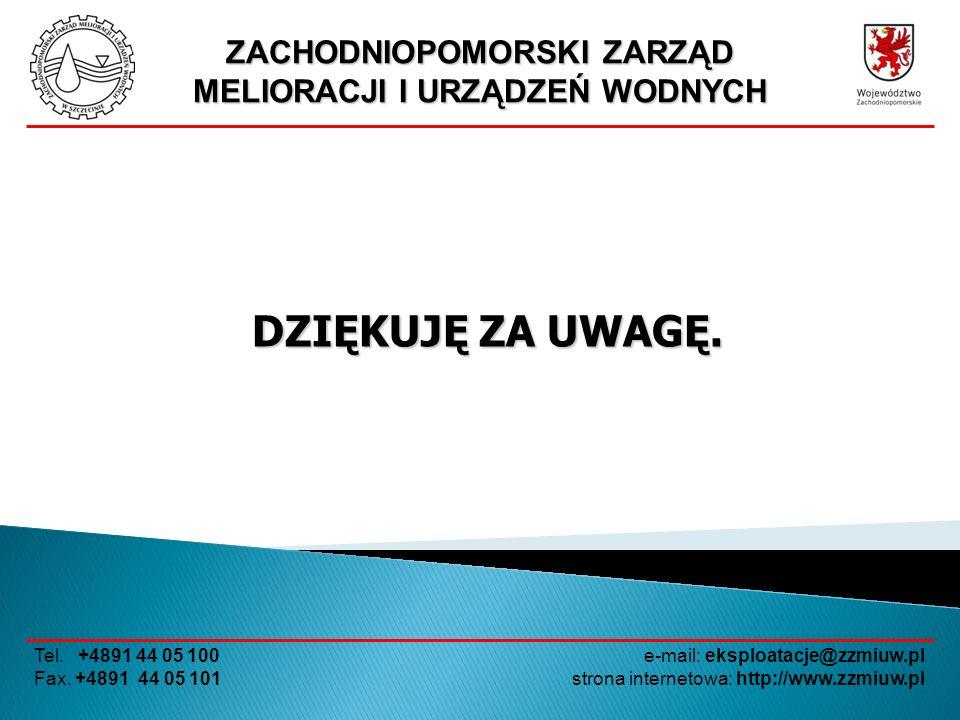 ZACHODNIOPOMORSKI ZARZĄD MELIORACJI I URZĄDZEŃ WODNYCH Tel. +4891 44 05 100 Fax. +4891 44 05 101 e-mail: eksploatacje@zzmiuw.pl strona internetowa: ht