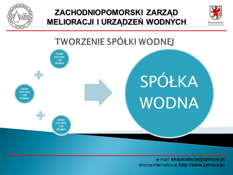 ZACHODNIOPOMORSKI ZARZĄD MELIORACJI I URZĄDZEŃ WODNYCH e-mail: eksploatacje@zzmiuw.pl strona internetowa: http://www.zzmiuw.pl TWORZENIE SPÓŁKI WODNEJ