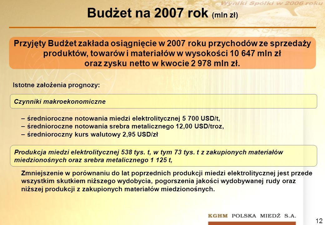 12 Budżet na 2007 rok (mln zł) Przyjęty Budżet zakłada osiągnięcie w 2007 roku przychodów ze sprzedaży produktów, towarów i materiałów w wysokości 10