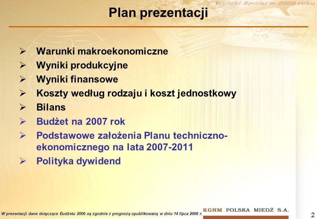 2 Plan prezentacji Warunki makroekonomiczne Wyniki produkcyjne Wyniki finansowe Koszty według rodzaju i koszt jednostkowy Bilans Budżet na 2007 rok Po