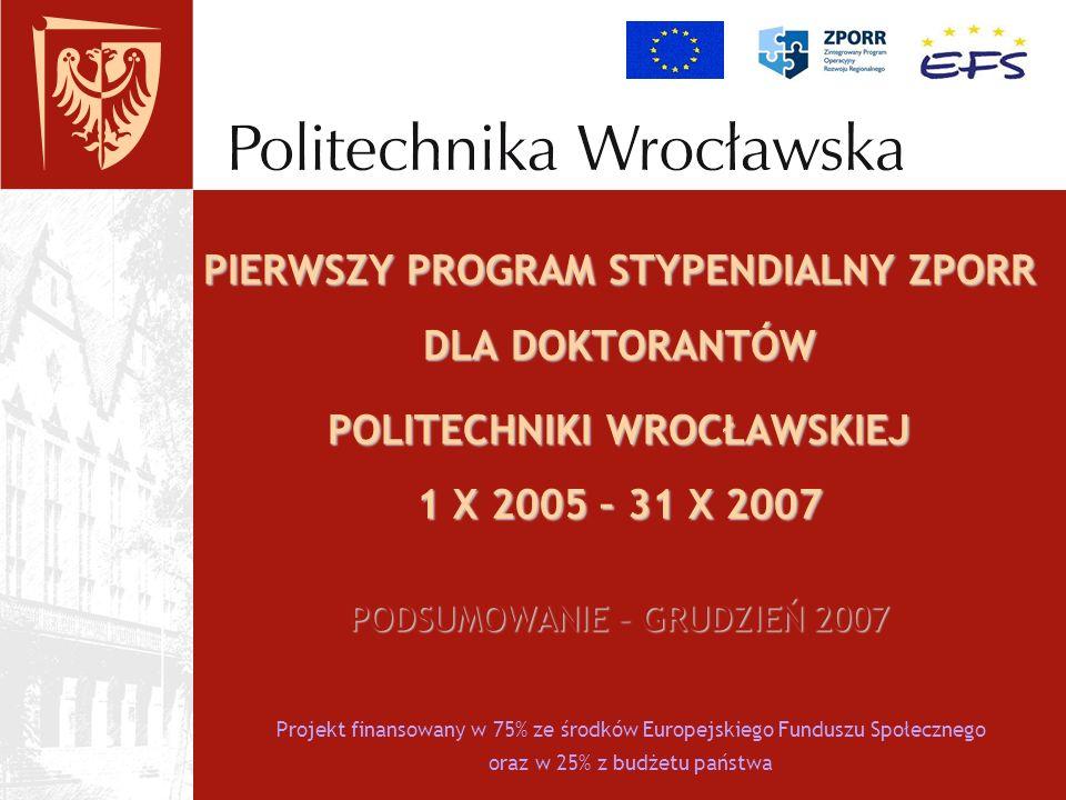 Projekt finansowany w 75% ze środków Europejskiego Funduszu Społecznego oraz w 25% z budżetu państwa PIERWSZY PROGRAM STYPENDIALNY ZPORR DLA DOKTORANT