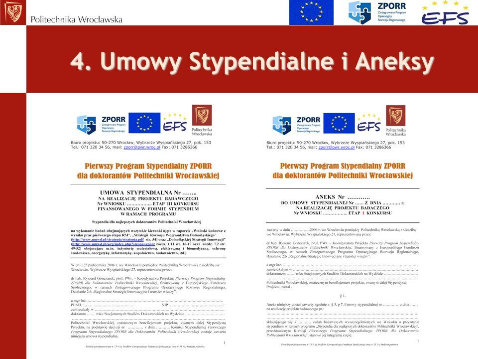 4. Umowy Stypendialne i Aneksy