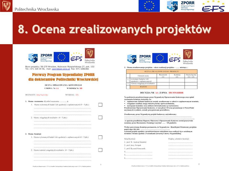 8. Ocena zrealizowanych projektów