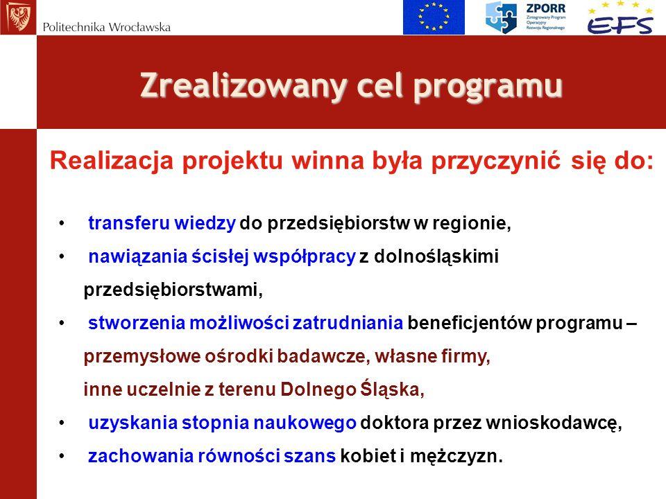 Zrealizowany cel programu Realizacja projektu winna była przyczynić się do: transferu wiedzy do przedsiębiorstw w regionie, nawiązania ścisłej współpr