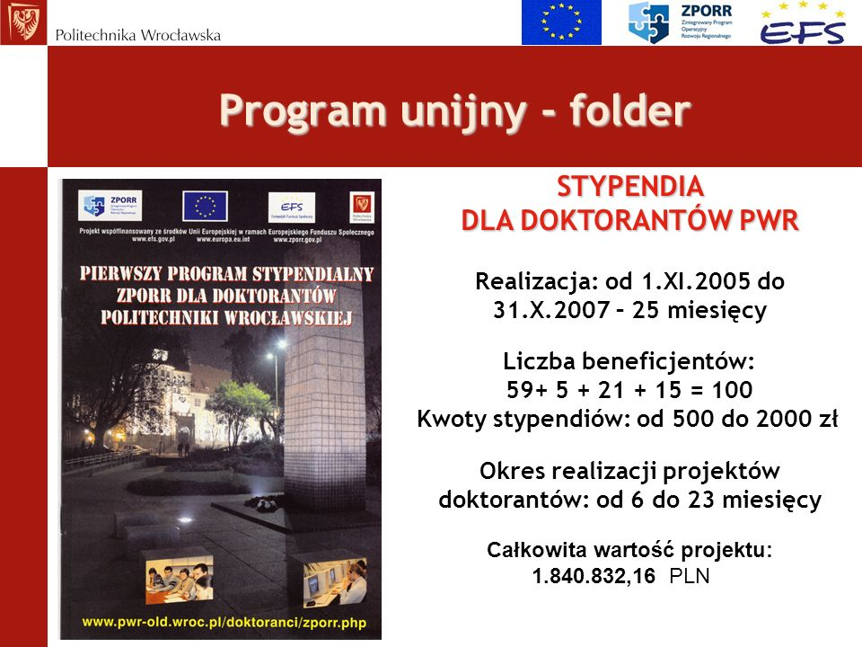 Warunki Programu 1.Środki stypendialne Działania 2.6 ZPORR 1.Środki stypendialne na realizację Programu Stypendialnego ZPORR pochodzą ze środków Europejskiego Funduszu Społecznego (EFS) w ramach Działania 2.6 ZPORR – Regionalne Strategie Innowacyjne i transfer wiedzy – wdrażanego przez Urząd Marszałkowski Województwa Dolnośląskiego.