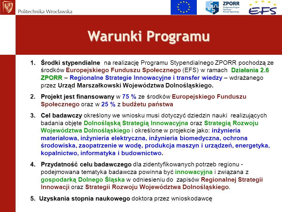 Warunki Programu 1.Środki stypendialne Działania 2.6 ZPORR 1.Środki stypendialne na realizację Programu Stypendialnego ZPORR pochodzą ze środków Europ