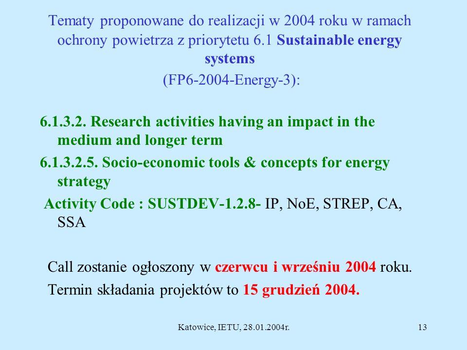 Katowice, IETU, 28.01.2004r.12 Tematy proponowane do realizacji w 2004 roku w ramach ochrony powietrza z priorytetu 1.1.6.3 Global change & ecosystems: Obszary priorytetowe nie są na razie określone (jak tylko będą do dyspozycji, zamieścimy je w naszej prezentacji) Trzeci konkurs tematyczny zostanie ogłoszony na wiosnę 2004 roku.