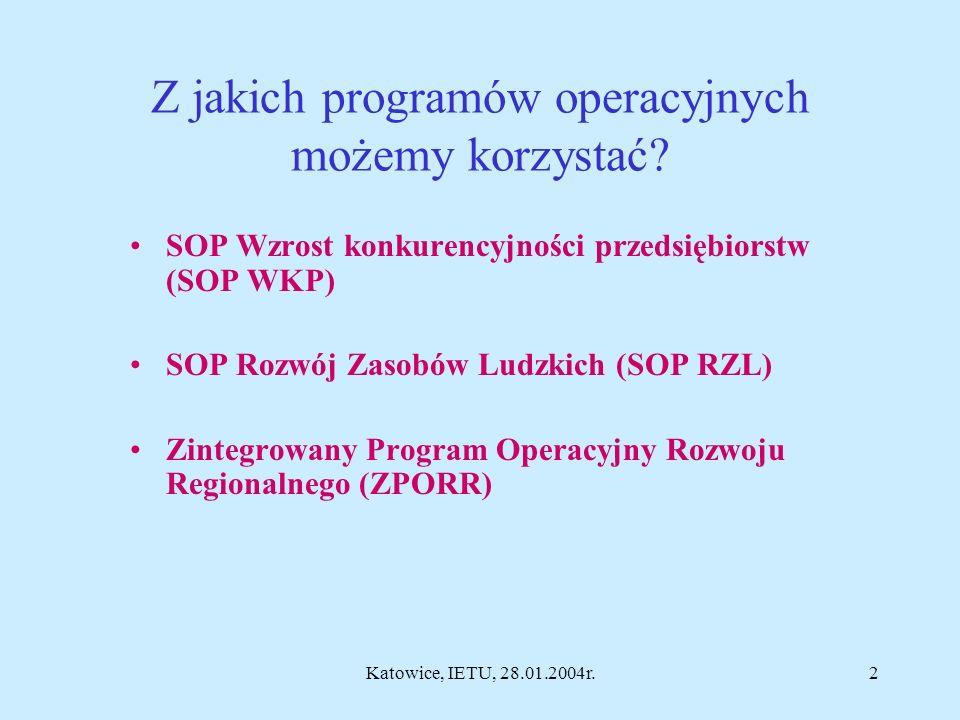Fundusze Strukturalne dla placówek naukowych w latach 2004-2006 oraz obszary działań w 6 PR UE w 2004 roku Walne Zgromadzenie Członków Sieci AIRCLIM-NET, Katowice, IETU, 28.01.2004r.