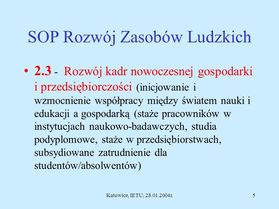 Katowice, IETU, 28.01.2004r.4 Centra Doskonałości Minister Nauki ustali kryteria wyboru i dofinansowania ze środków budżetowych CD. Przewiduje się dof