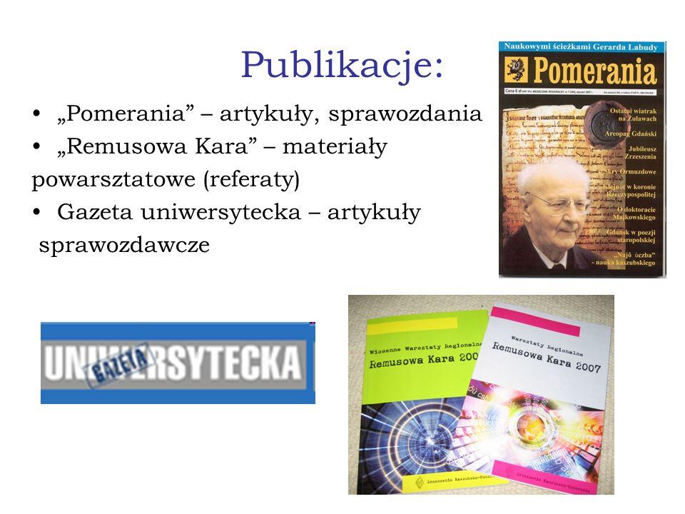 Publikacje: Pomerania – artykuły, sprawozdania Remusowa Kara – materiały powarsztatowe (referaty) Gazeta uniwersytecka – artykuły sprawozdawcze