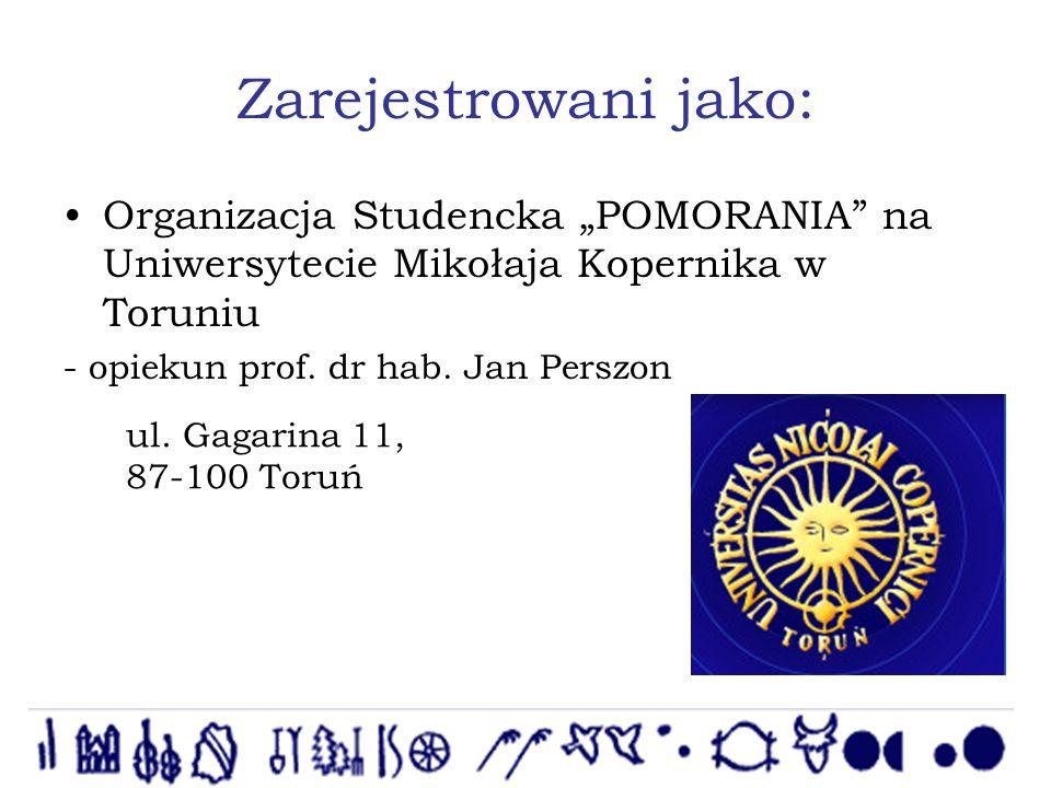 Zarejestrowani jako: Organizacja Studencka POMORANIA na Uniwersytecie Mikołaja Kopernika w Toruniu - opiekun prof.