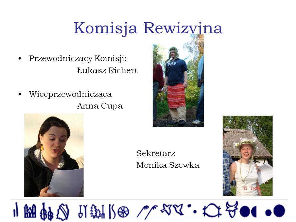 Komisja Rewizyjna Przewodniczący Komisji: Łukasz Richert Wiceprzewodnicząca Anna Cupa Sekretarz Monika Szewka