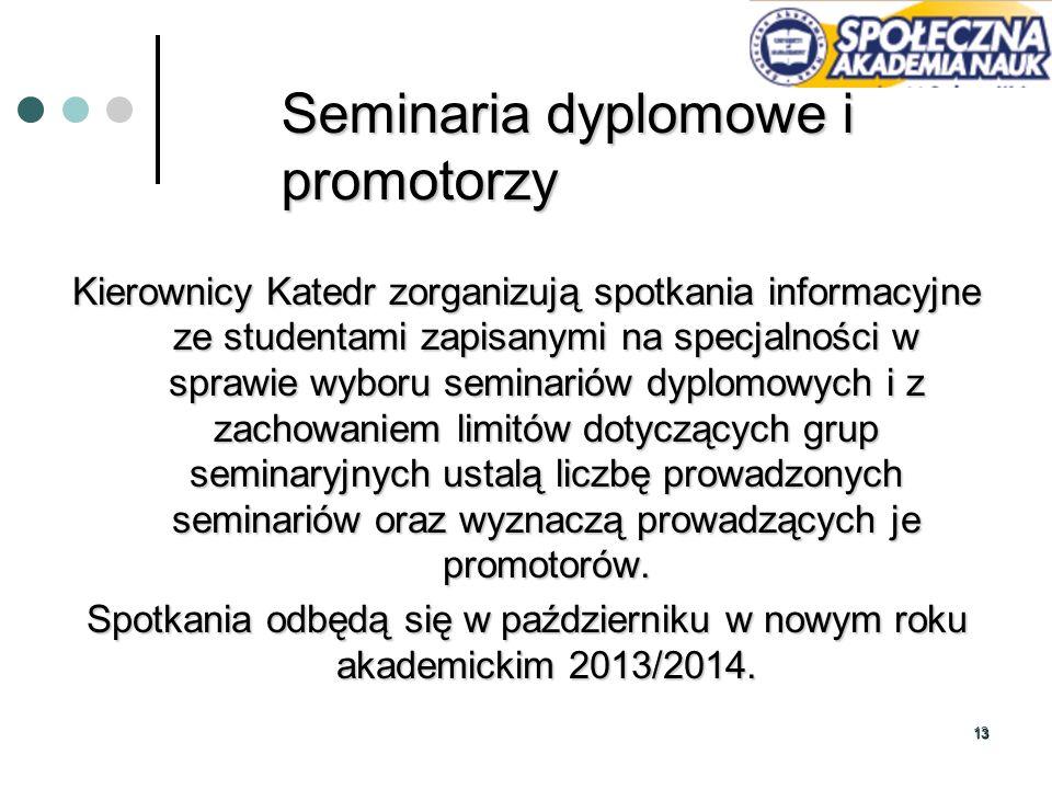1313 Seminaria dyplomowe i promotorzy Kierownicy Katedr zorganizują spotkania informacyjne ze studentami zapisanymi na specjalności w sprawie wyboru s