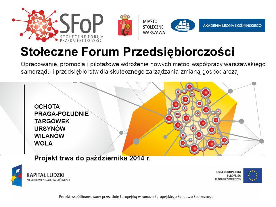 OCHOTA PRAGA-POŁUDNIE TARGÓWEK URSYNÓW WILANÓW WOLA Projekt trwa do października 2014 r. Stołeczne Forum Przedsiębiorczości Opracowanie, promocja i pi