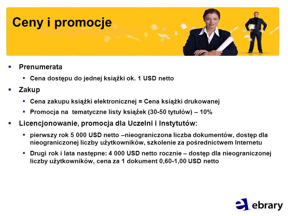 Ceny i promocje Prenumerata Cena dostępu do jednej książki ok.