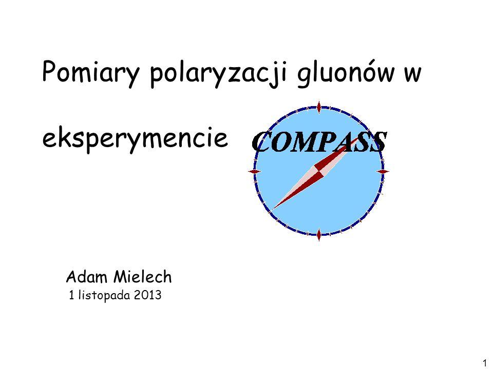 12 Rozpraszanie lepton-nukleon, selekcja procesów fuzji fotonowo-gluonowej (PGF) (SMC, HERMES, COMPASS) Bezpośrednie pomiary polaryzacji gluonów P P q q g g P P q q g P P g g g g Rozpraszanie proton-proton: Proces bezpośredniej emisji fotonu, Procesy dwudżetowe (ekperymenty przy RHIC) ll