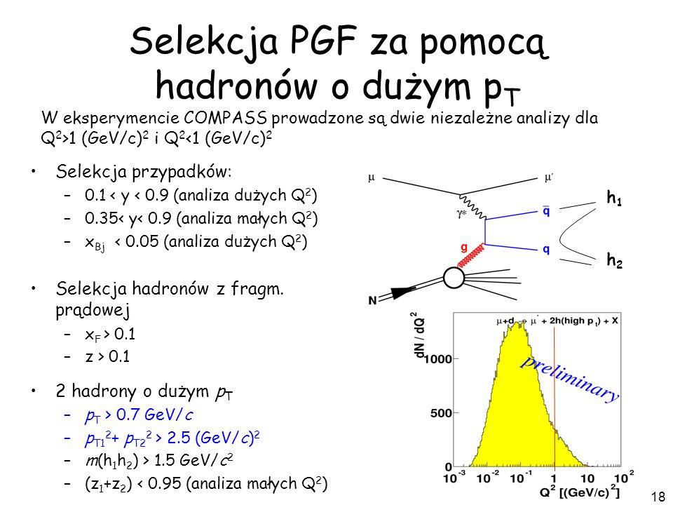 18 h1h1 h2h2 Selekcja PGF za pomocą hadronów o dużym p T W eksperymencie COMPASS prowadzone są dwie niezależne analizy dla Q 2 >1 (GeV/c) 2 i Q 2 <1 (