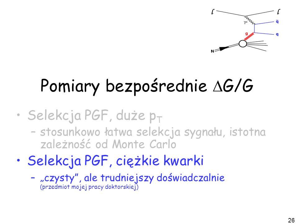 26 Pomiary bezpośrednie G/G Selekcja PGF, duże p T –stosunkowo łatwa selekcja sygnału, istotna zależność od Monte Carlo Selekcja PGF, ciężkie kwarki –