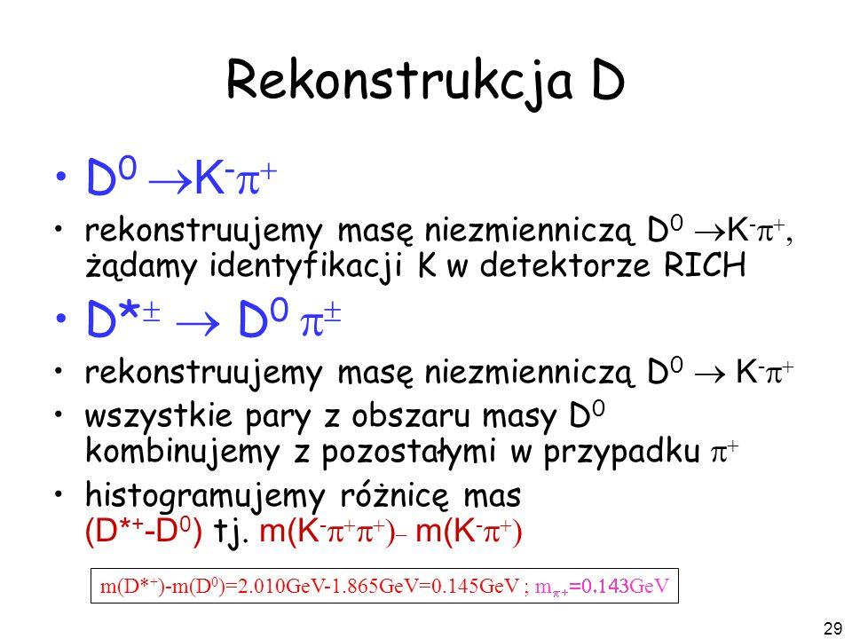 29 Rekonstrukcja D D 0 K - rekonstruujemy masę niezmienniczą D 0 K - żądamy identyfikacji K w detektorze RICH D* D 0 rekonstruujemy masę niezmienniczą