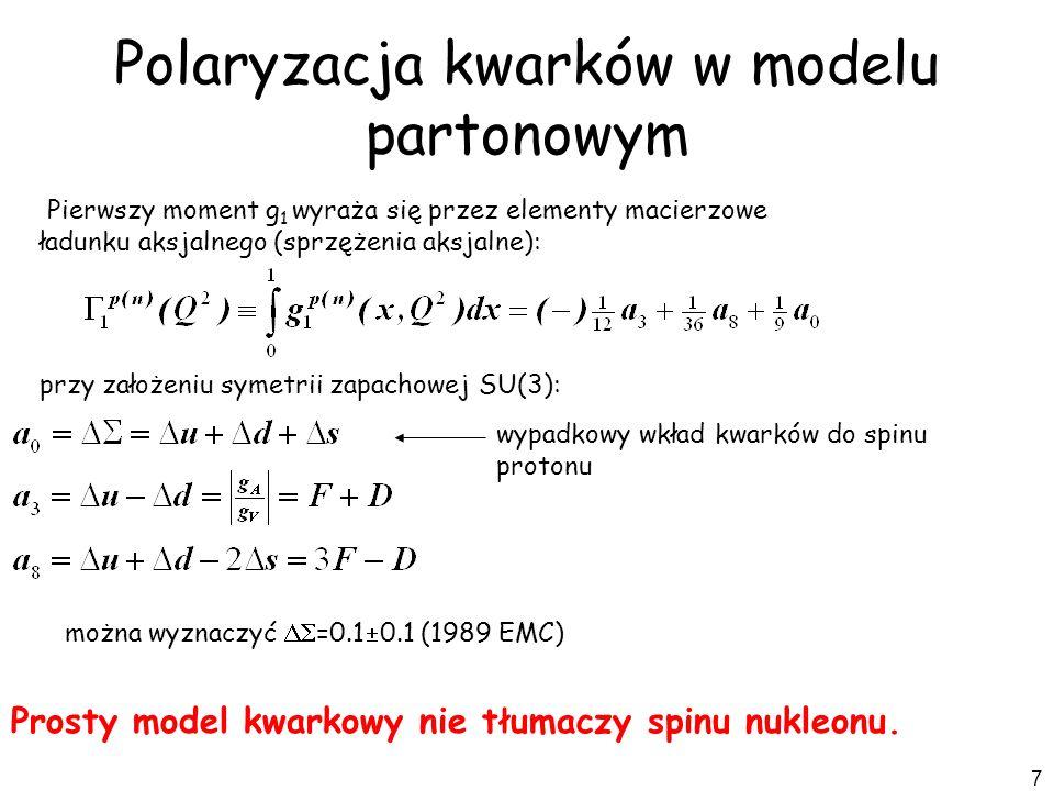 7 Polaryzacja kwarków w modelu partonowym przy założeniu symetrii zapachowej SU(3): Pierwszy moment g 1 wyraża się przez elementy macierzowe ładunku a