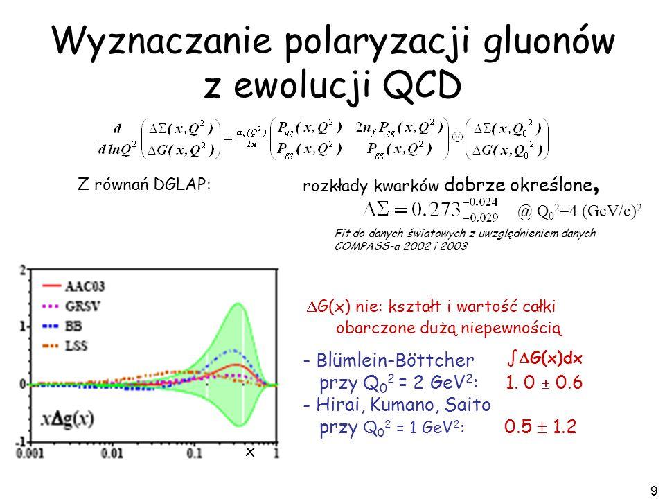 9 x rozkłady kwarków dobrze określone, G(x) nie: kształt i wartość całki obarczone dużą niepewnością - Blümlein-Böttcher przy Q 0 2 = 2 GeV 2 : 1. 0 0