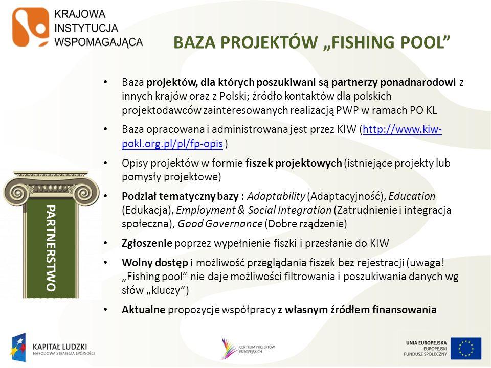 BAZA PROJEKTÓW FISHING POOL Baza projektów, dla których poszukiwani są partnerzy ponadnarodowi z innych krajów oraz z Polski; źródło kontaktów dla pol
