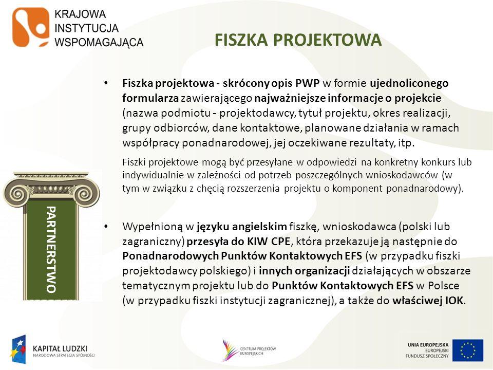 FISZKA PROJEKTOWA Fiszka projektowa - skrócony opis PWP w formie ujednoliconego formularza zawierającego najważniejsze informacje o projekcie (nazwa p