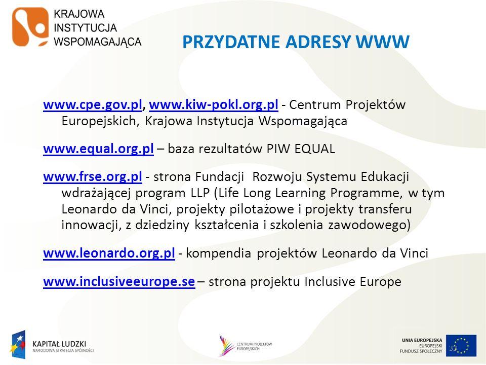 33 PRZYDATNE ADRESY WWW www.cpe.gov.plwww.cpe.gov.pl, www.kiw-pokl.org.pl - Centrum Projektów Europejskich, Krajowa Instytucja Wspomagającawww.kiw-pok