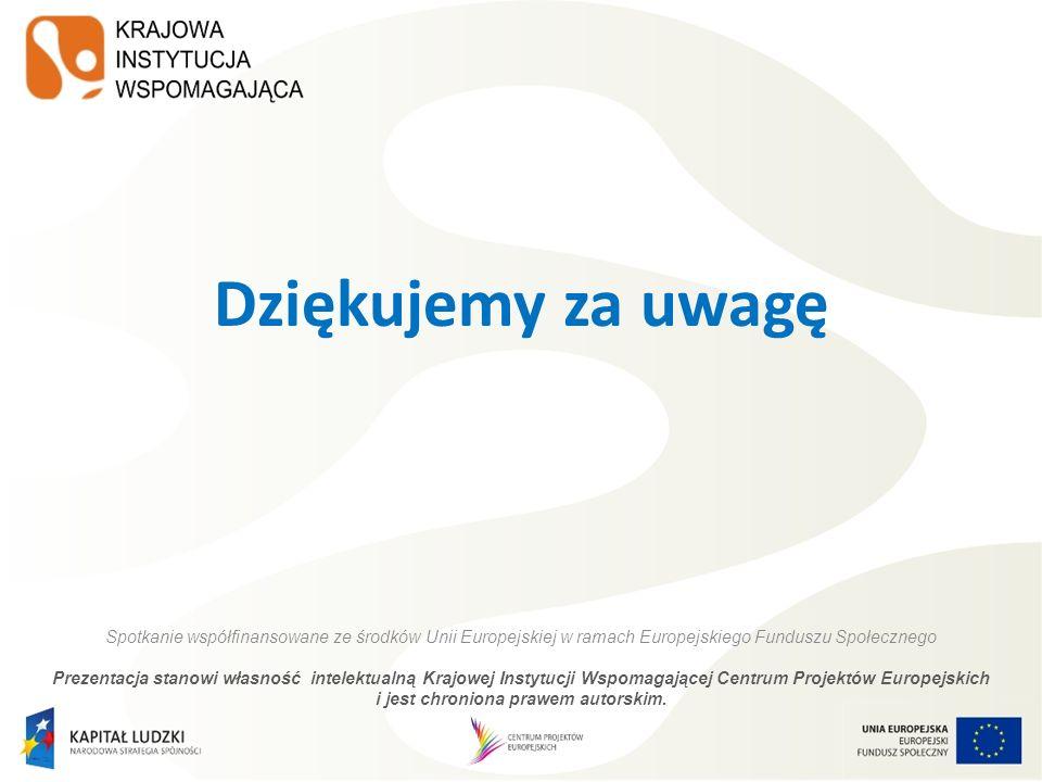 Dziękujemy za uwagę Spotkanie współfinansowane ze środków Unii Europejskiej w ramach Europejskiego Funduszu Społecznego Prezentacja stanowi własność i