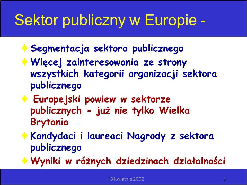 18 kwietnia 20022 Plan Ogólne wiadomości nt. zastosowania Modelu w Europie Przykładowe organizacje modelowe Benczmarking w zakresie dobrych praktyk Sy