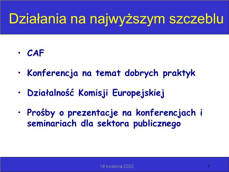 18 kwietnia 20024 Rozpowszechnienie filozofii Doskonałości w organizacjach sektora publicznego Ustanowienie Projektu PSSG Przykład członkostwa w EFQM