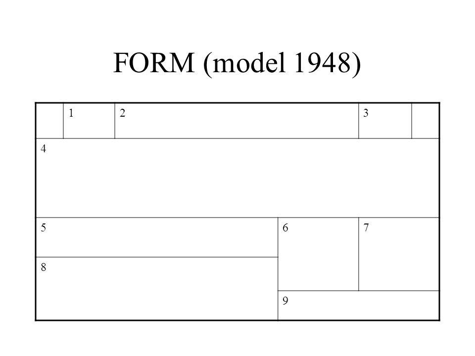 FORM (model 1948) 123 4 567 8 9