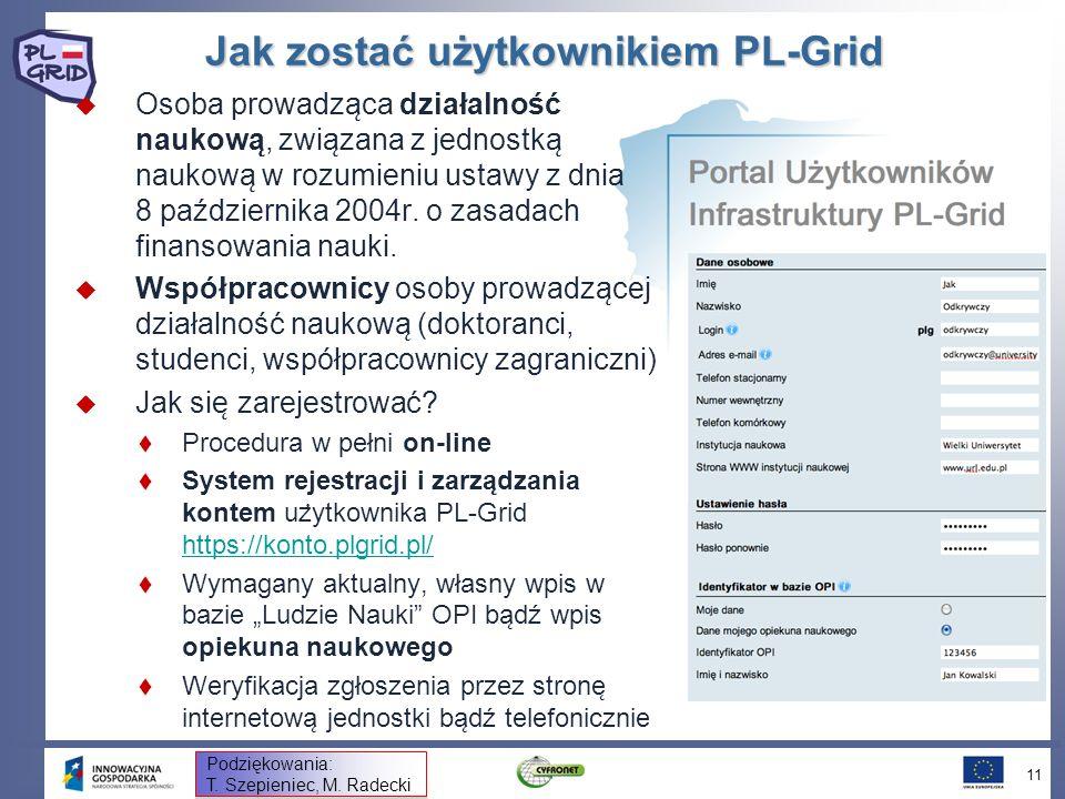 Jak zostać użytkownikiem PL-Grid Osoba prowadza ̨ ca działalność naukowa ̨, zwia ̨ zana z jednostka ̨ naukowa ̨ w rozumieniu ustawy z dnia 8 paździ