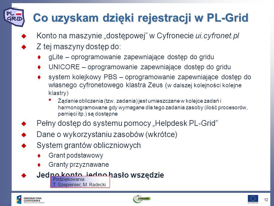 Co uzyskam dzięki rejestracji w PL-Grid Konto na maszynie doste ̨ powej w Cyfronecie ui.cyfronet.pl Z tej maszyny dostęp do: gLite – oprogramowanie za